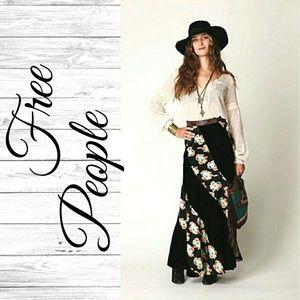 Free People Twisted Black Velvet Maxi Skirt